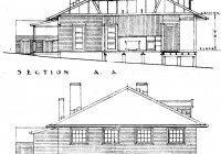Canary Cottage Section A.A. & End Elevation.May 1938.